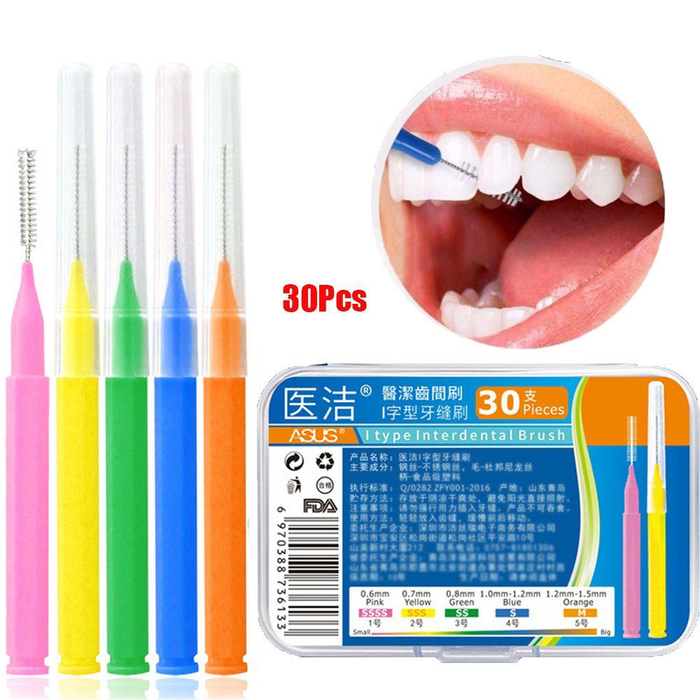 30 Uds en forma de L cepillo Interdental hilo Dental limpiadores interdentales ortodoncia Dental cepillo de dientes palillo utensilio para cuidado bucal