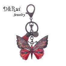 Émail papillon porte-clés en cuir gland porte-clés avec strass pour les femmes sac pendentif mignon porte-clés mode bijoux cadeaux