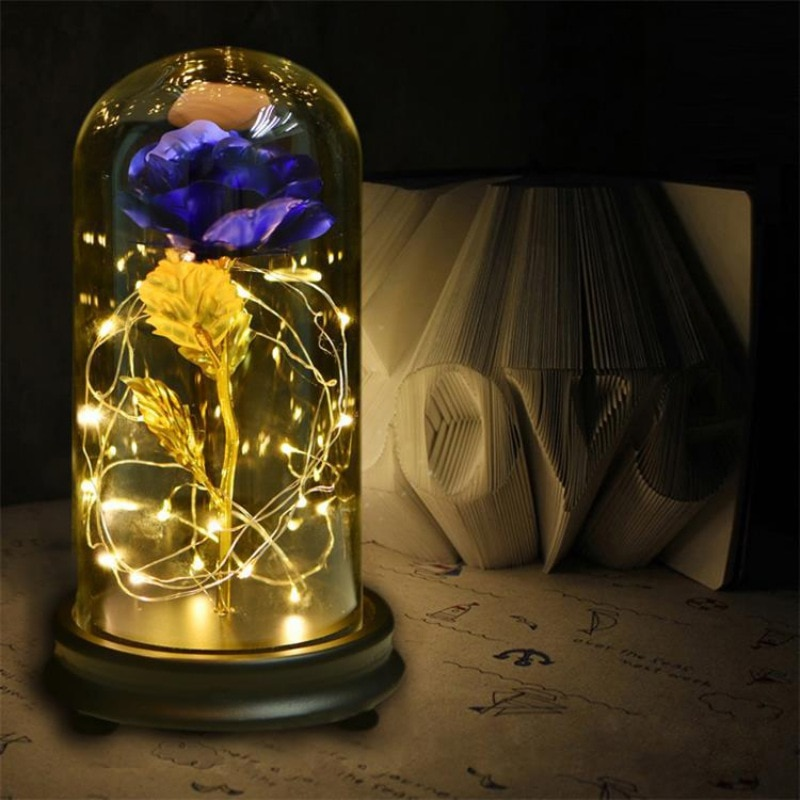 Beauty And The Beast Rose In Glass Gold-plated Red Rose With LED Light In Glass Dome For Valentine's Gifts недорого