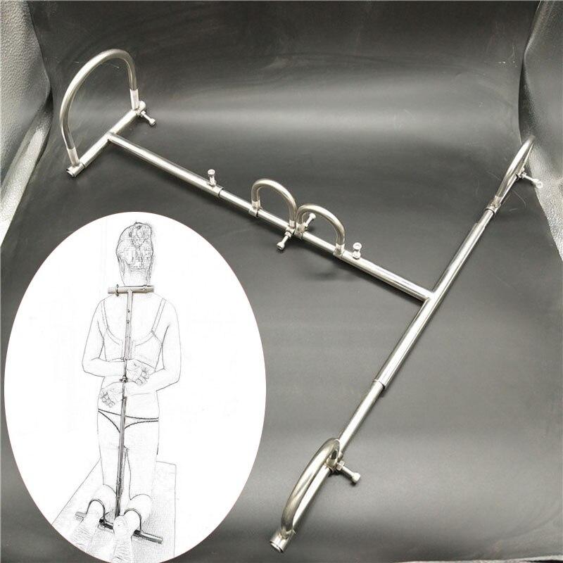 Acero inoxidable Bdsm Torture Kneel esparcidor barra esclavitud esposas ataduras para sexo Collar de acero Bdsm Kit adultos juegos juguetes sexuales