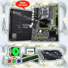 HUANANZHI X58 Pro carte mère bundle processeur Intel Xeon X5680 3.33GHz refroidisseur de processeur 16G RAM DDR3 REG ECC carte vidéo GTX750Ti 2G