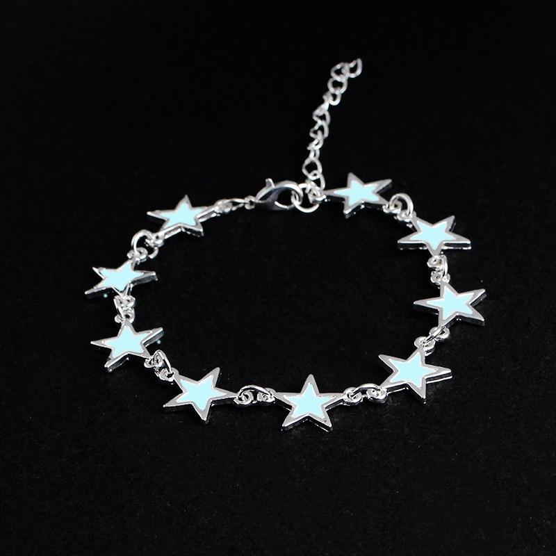 Stylish Beautiful Star Dark Luminous Bracelets Fashion 9 Blue Stars Charm Chain Bracelet Glowing in Dark Men Women Jewelry Gift