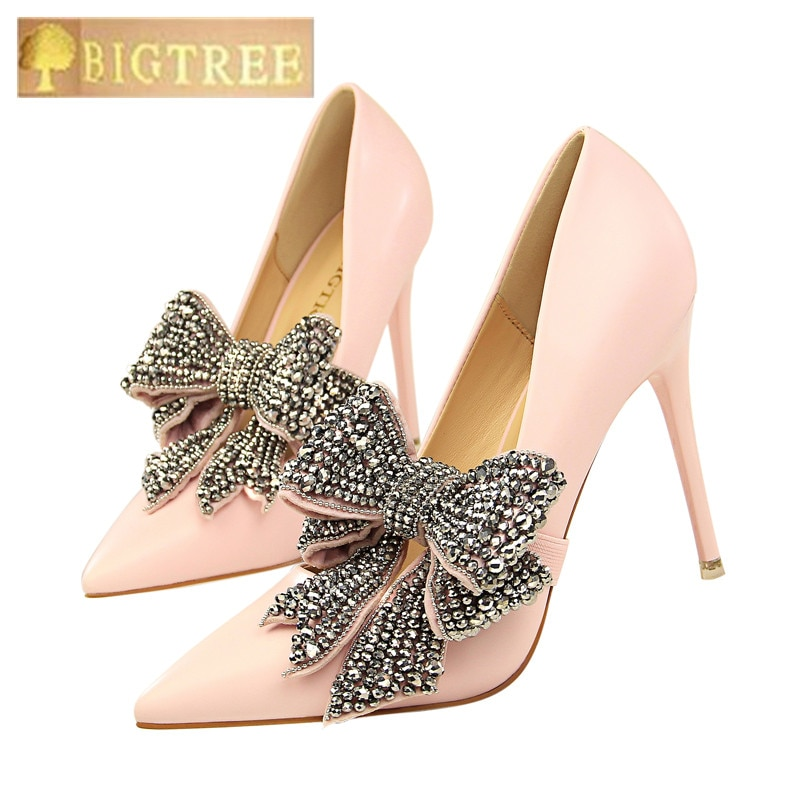 Tacones BIGTREE para mujer, 10,5 CM, elegantes, finos, de tacón alto, poco profundos, banda con palabra en punta, zapatos de tacón con pajarita de diamantes de imitación para mujer