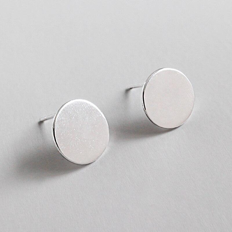 11mm Geométrica minimalista 100% Authentic 925 Sterling Silver Plain Alta Polido Coin Rodada Stud Brincos jóias Finas E66