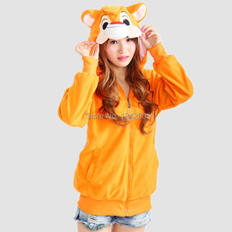 Anime Pokemon Theodore ardilla Chipmunk mujeres Sudadera con capucha chaqueta mujeres niñas Sudadera con capucha con orejas cola ojos adultos