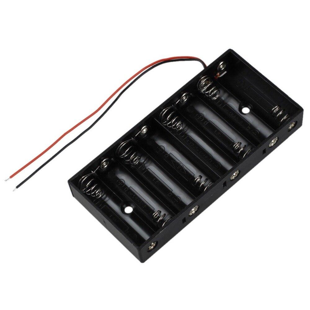 Nuevo plástico 8X1,5 V AA batería de la célula de almacenamiento caja estándar 12V caja con cables