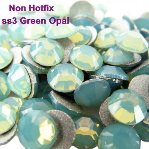 Ss3 (1,3-1,5mm) Grün Opal Nicht hotfix Rhinestones, 1440 teile/los, flache Rück Nail art Kleber Auf Kristallsteinen
