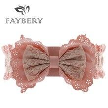 Ceintures en dentelle pour femmes   Élégantes, à nœud papillon, ceinture large pour robes de mariage, mode, ceinture élastique pour femmes, marque Design, rose