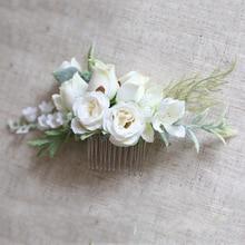 Verdure fleur peigne à cheveux fleur mariée femmes accessoires de mariage pour cérémonie de mariage chapeaux