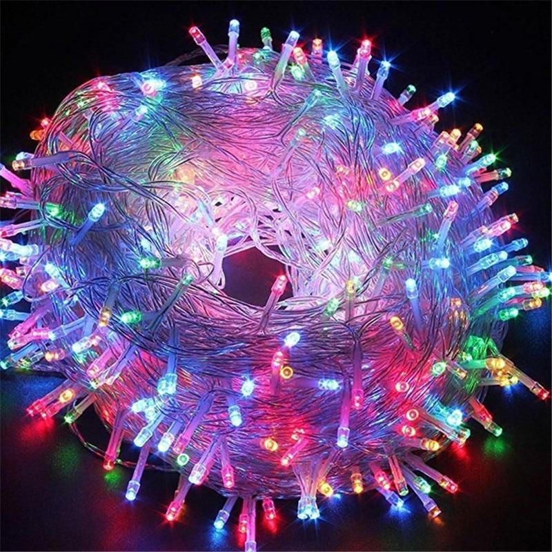 Наружные рождественские светодиодные гирлянды 100 м 50 м 30 м 20 м 10 м 5 м Luces Decoracion fairy light Праздничные огни освещение Дерево гирлянда