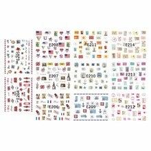 11 PCS/LOT SIMULATION émulation auto-adhésif 3D ongles tatouages autocollant timbre boîte postale étoile ancre E204-214