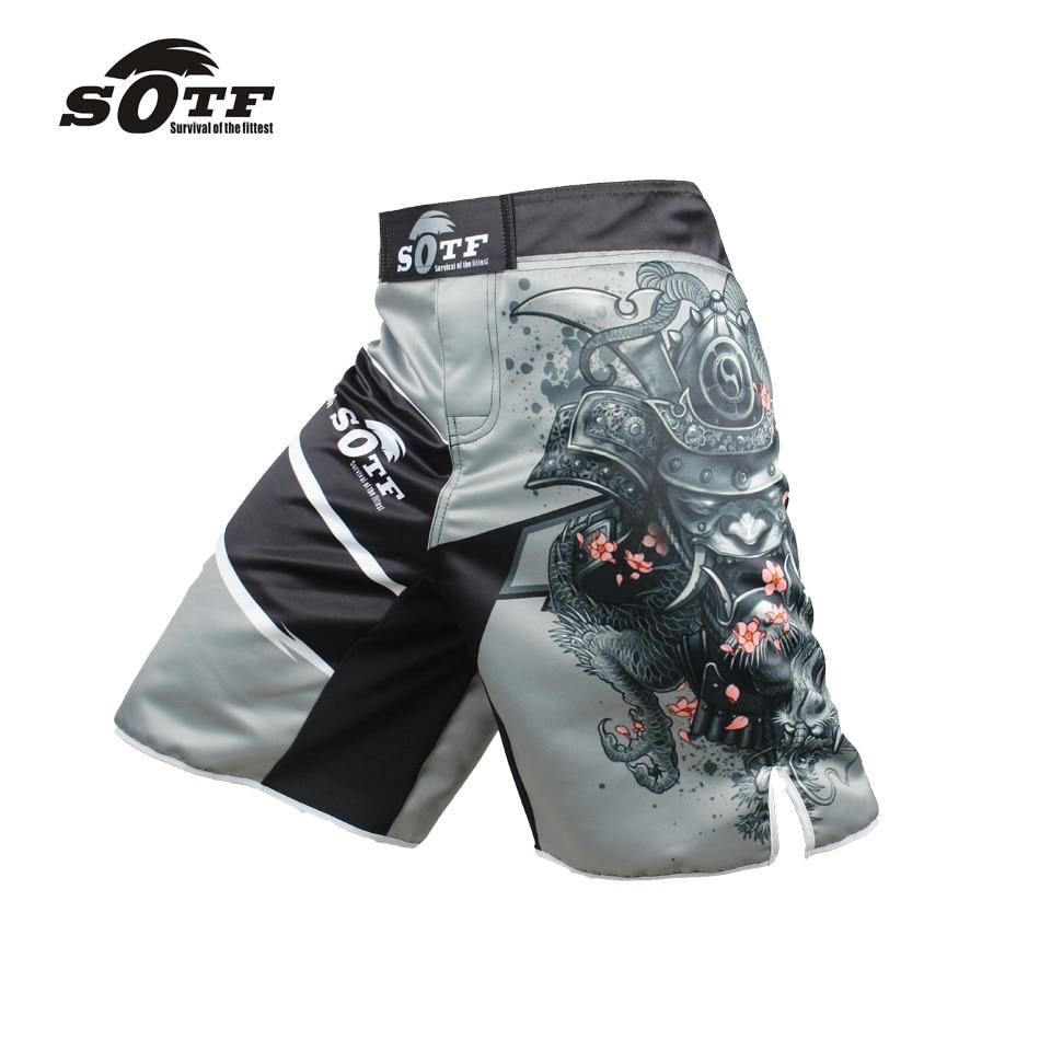 SOTF men's Japanese warrior gray sports fitness angle pants Tiger Muay Thai cheap pretorian boxing shorts mma short kickboxing