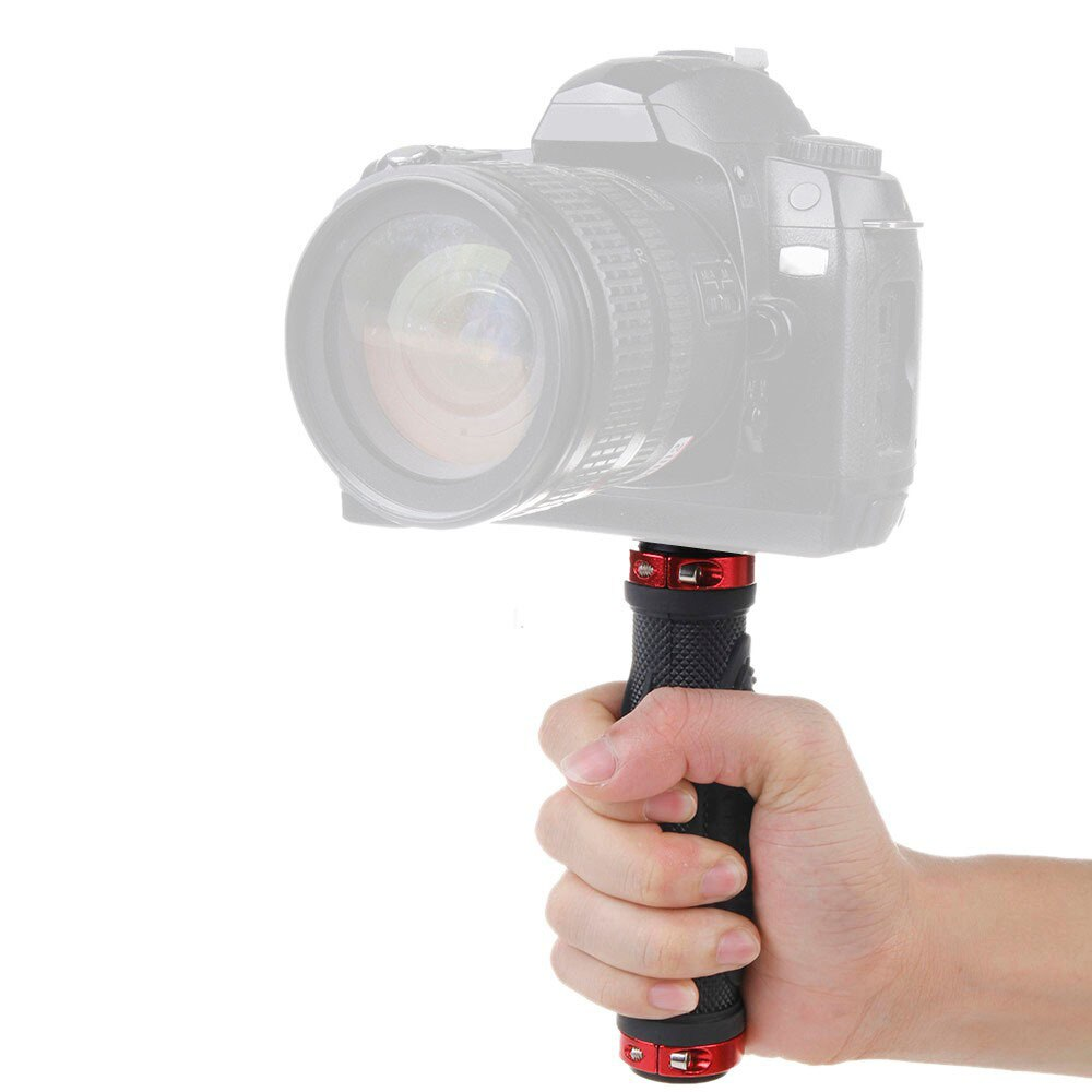1/4 tornillo de mano mango de goma agarre soporte trípode estabilizador varilla Abrazadera para cámara Digital LED Luz de vídeo