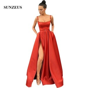 Square Neckline Spaghetti Straps Evening Long Dress High Slit Women Formal Dress Simple Satin Party Gowns With Pockets