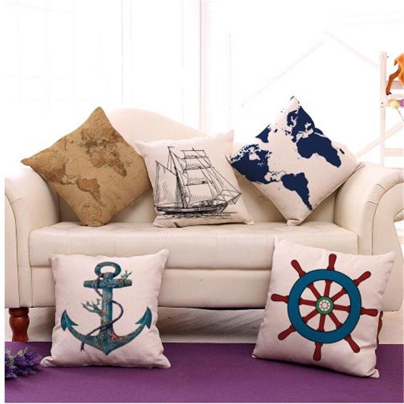 Coussin ancre de mer méditerranéenne   Coussin de bateau sans remplissage, coussins décoratifs pour la maison, canapé, Almofadas 18X18 pouces