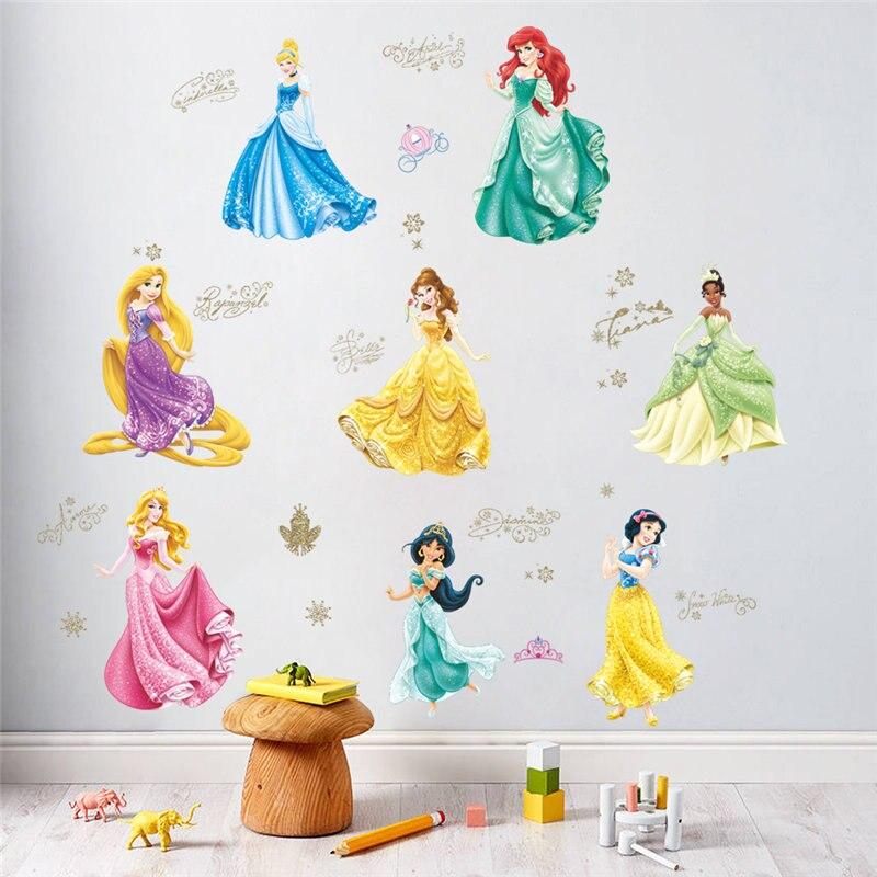 Blancanieves Cenicienta princesa pegatinas de pared chicas habitación decoración arte mural de caricatura Diy hogar pegatinas carteles niños regalo