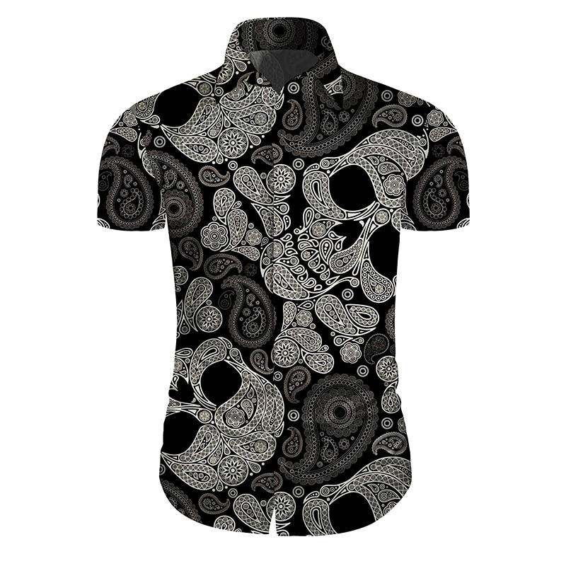 Camisa estampada de calavera estilo Cloudstyle, ropa para Hombre, camisa hawaiana, Camisas casuales ajustadas de flores ajustable, Camisas para Hombre, camisa de manga corta 5XL