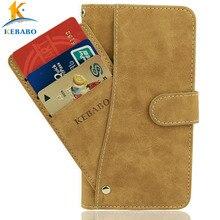 """Vintage Leder Brieftasche Prestigio Muze B3 PSP 3512 DUO Fall 5 """"Flip 3 Front Karte Slots Fällen Abdeckung Telefon schutz Taschen"""