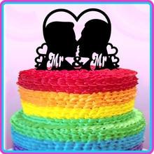 Décoration de gâteau de mariage Mr & Mr   Garniture de gâteau de mariage, de style Gay et fabuleux, pour lhomosexuel