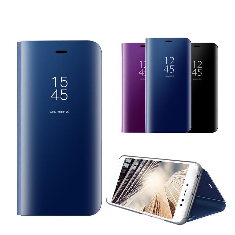 Caso inteligente Espelho Visão Clara Para Xiaomi Redmi 4X5 Plus Nota 5A Couro Kickstand PU Capa Completa Para caso Xiaomi Redmi 5 MIX 2