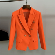 HIGH STREET Classic Baroque Designer Blazer Women's Metal Lion Buttons Double Breasted Blazer Orange