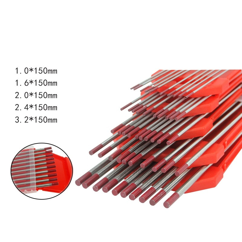 10pcs/lot Tungsten Electrode Tungsten Tig Needle/Rod 1.0 1.6 2.0 2.4 3.2mm for Tig Welding Machine / Spot welding 150mm Red Tip