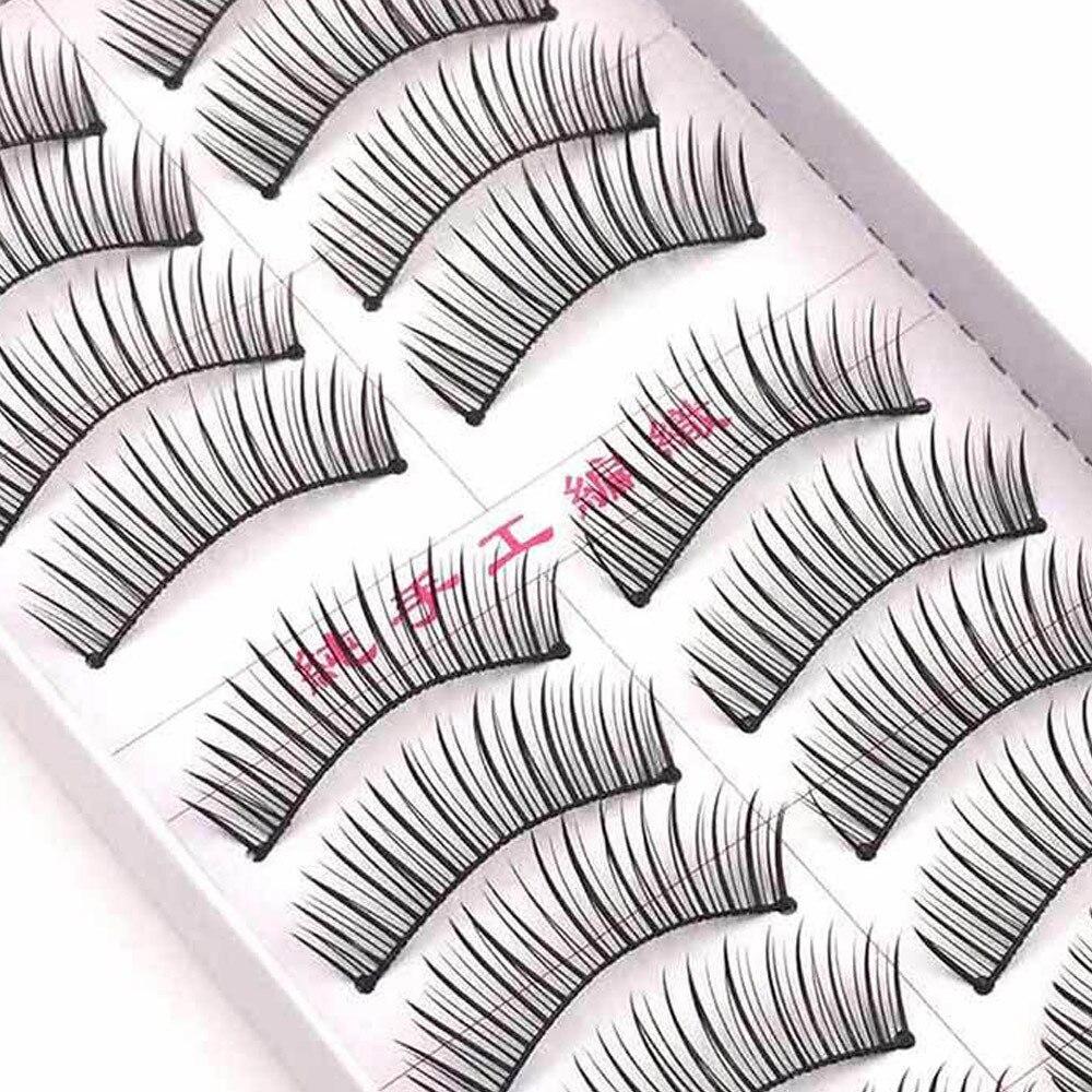 10 pares de pestañas diarias Kanbuder de moda para mujer, extensión de latigazo de los ojos doble, Natural, grueso, cruzado, maquillaje desnudo MARC26