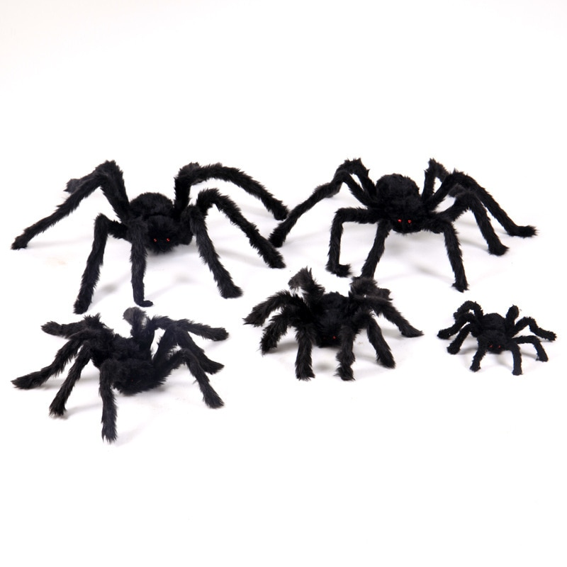 1 unidad de arañas de fiesta novedosas colgante de terror para halloween de halloween casa embrujada bar decoración horrible juguete de araña negra de felpa suave