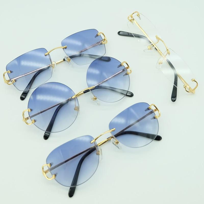 Metal Sunglasses Rimless Square Big C Sunglasses Luxury Mens Sunglass 2020 Carter Sun Glasses Brand Desinger Shade For Men