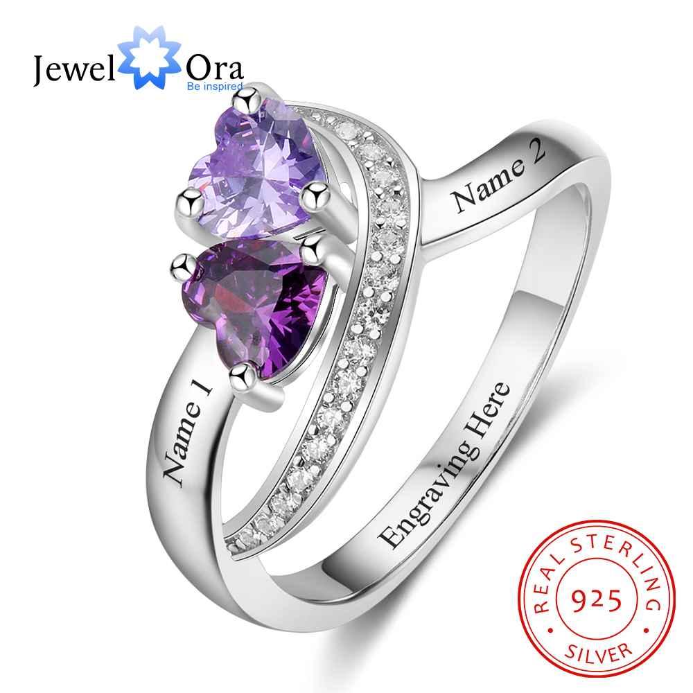 Персонализированные обещания кольцо камень-талисман в форме сердца на заказ Гравировка 2 названия 925 пробы серебряный юбилей подарок (JewelOra ...