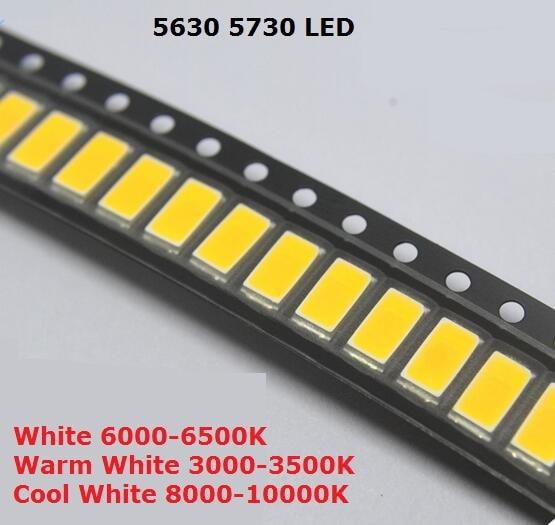200 шт. SMD 5730 Диод Белый SMD5730 0,5 Вт светодиодный 5630 6000 К 6500 к супер яркий чип SMD5630 5730SMD 150mA PCB SMT светодиод
