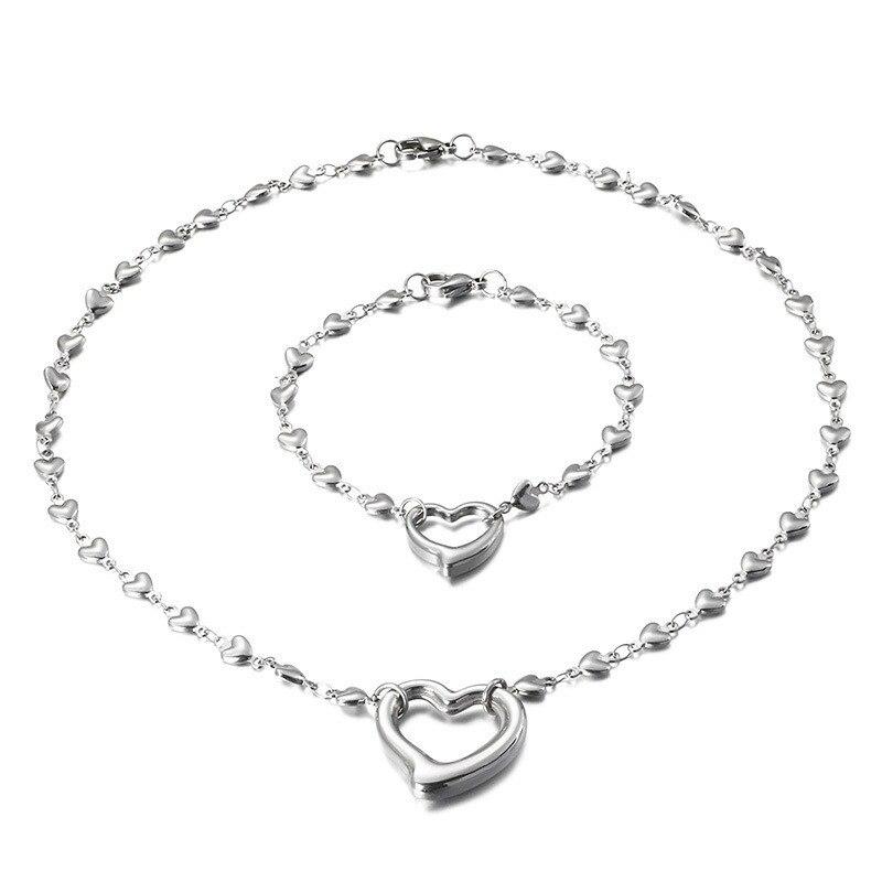 316L de acero inoxidable corazón pulsera, collar, Gargantilla joyería Bijoux mujer joyería de la boda de amor romántico regalos