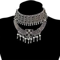 gypsy boho tribal tassel collar bib chunky chocker necklaces statement earrings sets for women india afghan turkey egypt jewelry