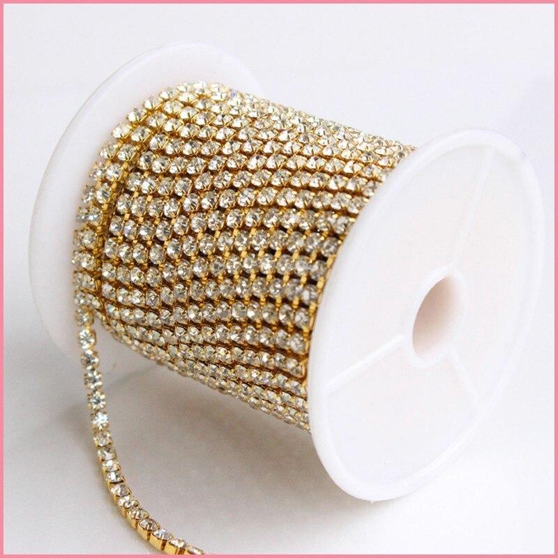 Ss18 золото с кристаллами Китай AAAA Качество Супер блестящее для свадебного платья decoraiton, бесплатная доставка чашки цепи рулоны