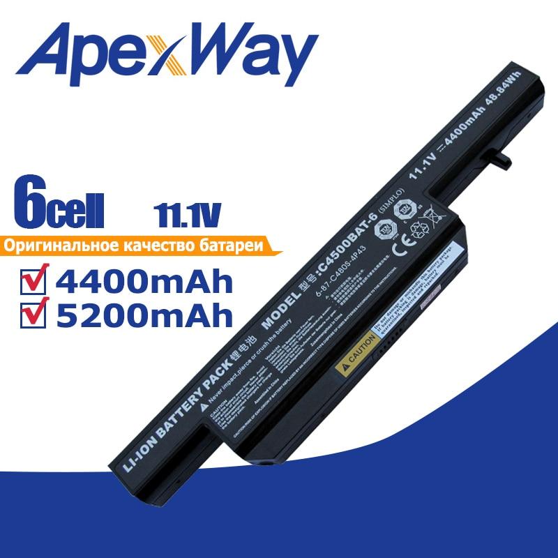 11,1 v 6 células C4500 batería para portátil Clevo C4500BAT-6 6-87-C480S-4P4 C4500BAT 6 KB15030 W150ER C4500Q C4501 C4505 W150