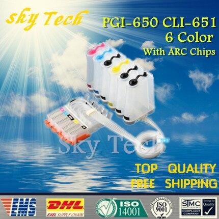 6 Color CISS vacío para PGI650 CLI651... PGI-650 CLI-651 traje para Canon MG6360 MG7160 con arco Chip