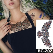 1 blatt Brust Körper Tattoo Temporäre Wasserdicht Schmuck Bohemian farbigen eule Muster Aufkleber Taille Kunst Tattoo Aufkleber für Frauen