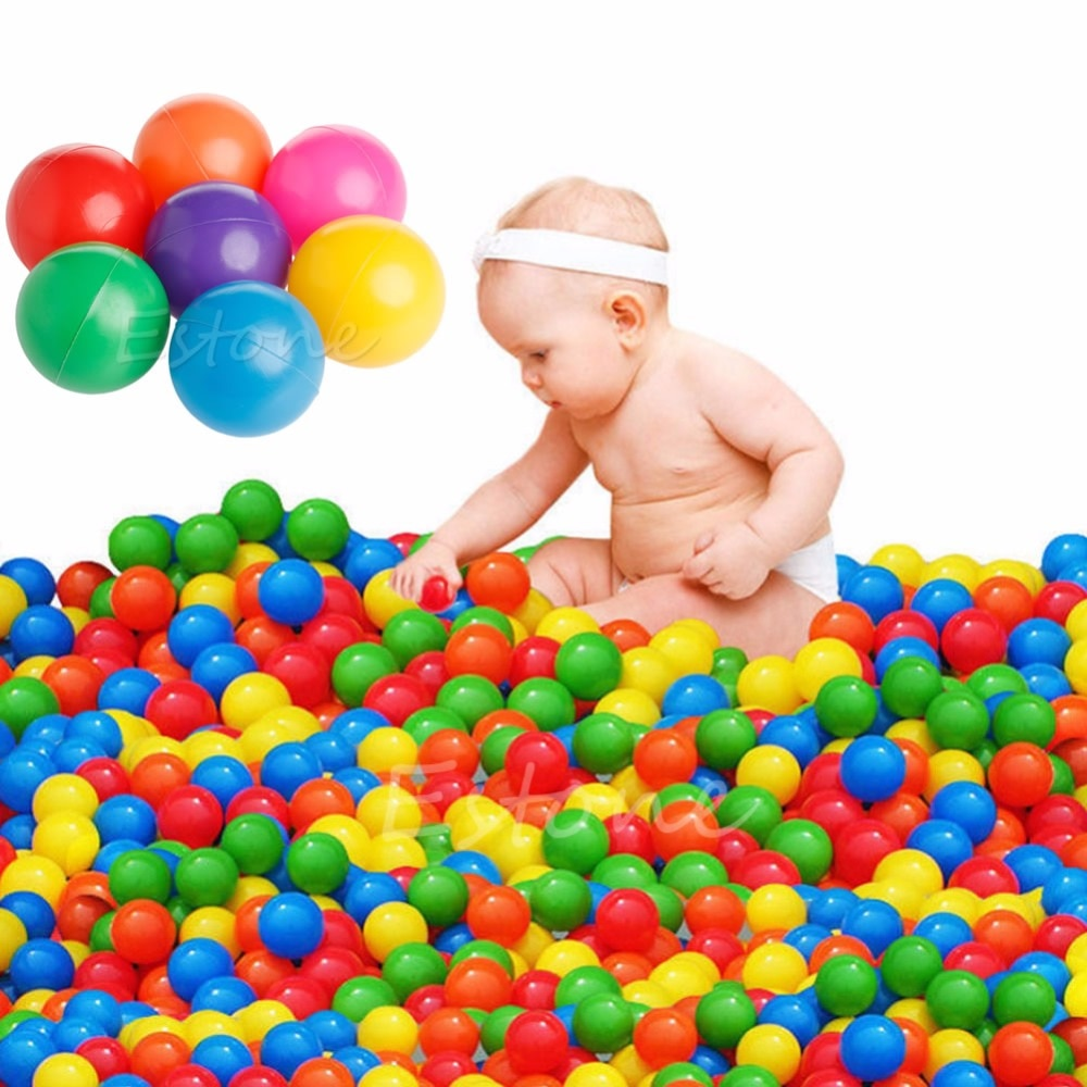 1 juego/100 piezas Bola de diversión colorida pelota de plástico suave Ocean Ball bebé chico juguete natación juguete piscina de agua bolas de océano diámetro 7 cm