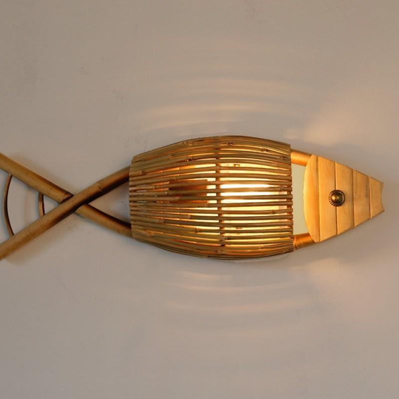 Lámparas de pared de bambú con forma de pez, lámparas de pared de madera café para Bar, restaurante en forma de pez, lámparas de pared de Asia, decoración de sala de exposiciones de museo ZA914611