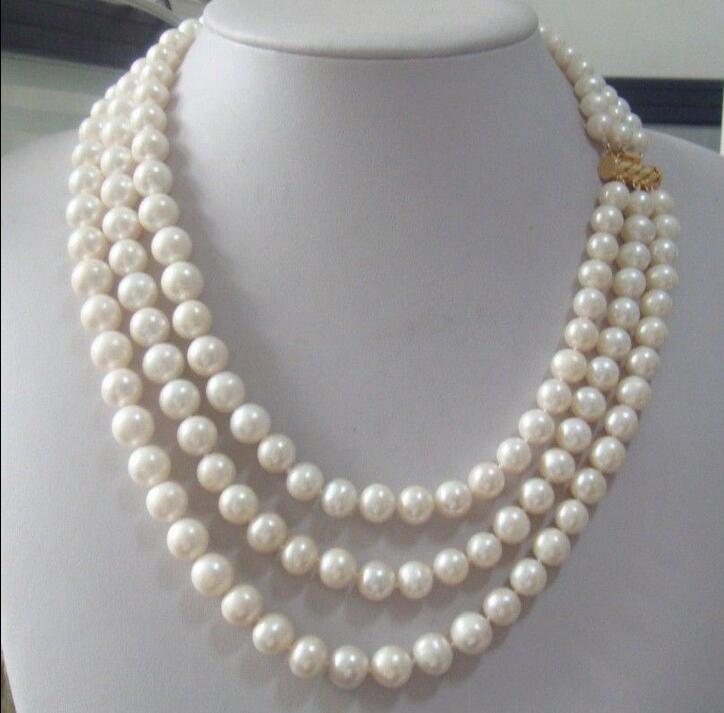 """Hermoso collar de perlas blancas del sur del Mar Australiano del sur de 9-10mm de tres tiras, 17-20"""""""