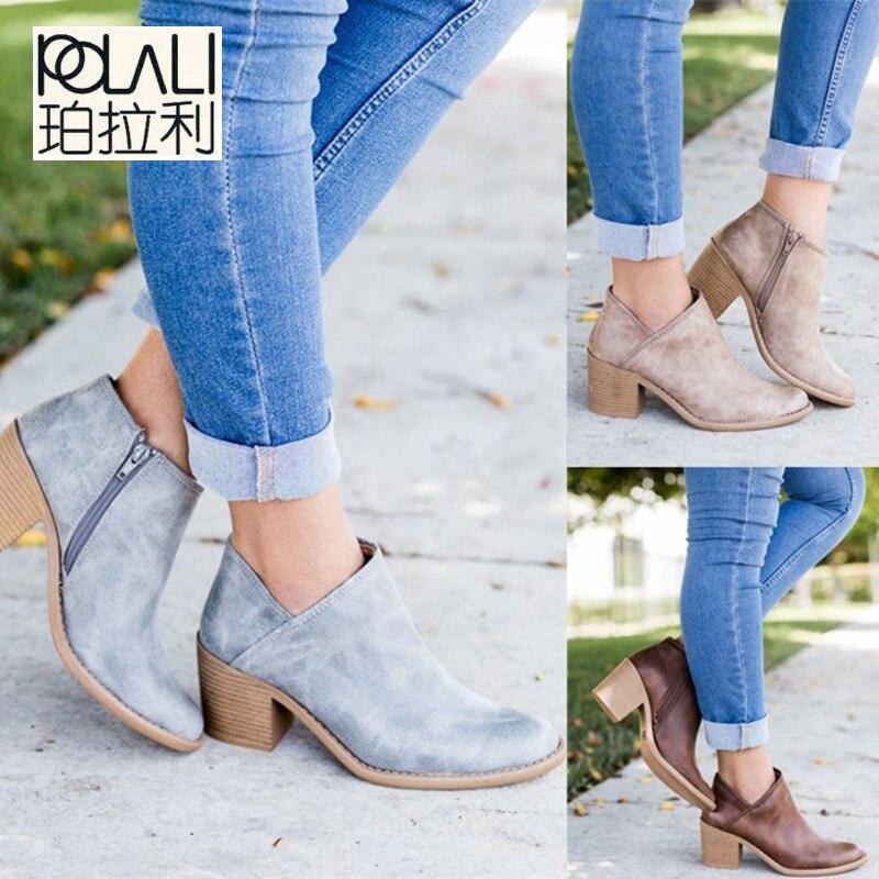 POLALI 2019 primavera otoño mujeres mariposa-Nudo Chelsea botas Slip-On Med tacones puntiagudos Zapatos Mujer talla grande 43