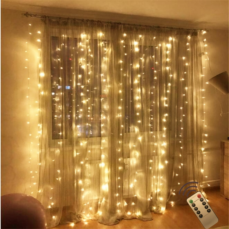 Remote 3x2m 180led string fairy light Wedding garden party led curtain Decor Garland light led night light Festival Decoration