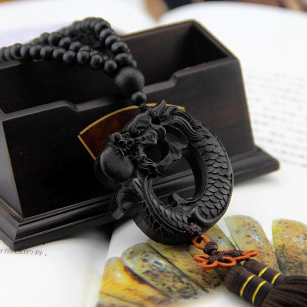 1 unidad de colgante de coche tallado de madera de ébano chino Fengshui dragón escultura cuentas de oración colgante de la suerte accesorios LYY9063
