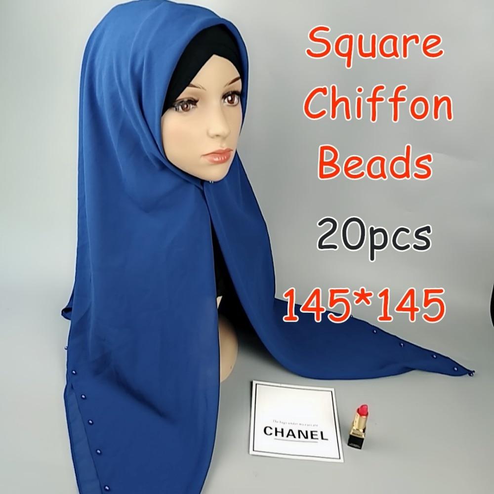 H5 20 قطعة عالية الجودة حبة ساحة الشيفون الحجاب 145*145 سنتيمتر التفاف شالات النساء والأوشحة وشاح طويل شال top