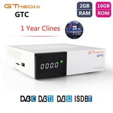 GTMEDIA GTC DVB-T2 DVB-S2 Récepteur Satellite Intelligent Android 6.0 TÉLÉVISION Amlogic S905D ISDB-T DVB-C Tourneur de TÉLÉVISION + 1 An Cccam Récepteur
