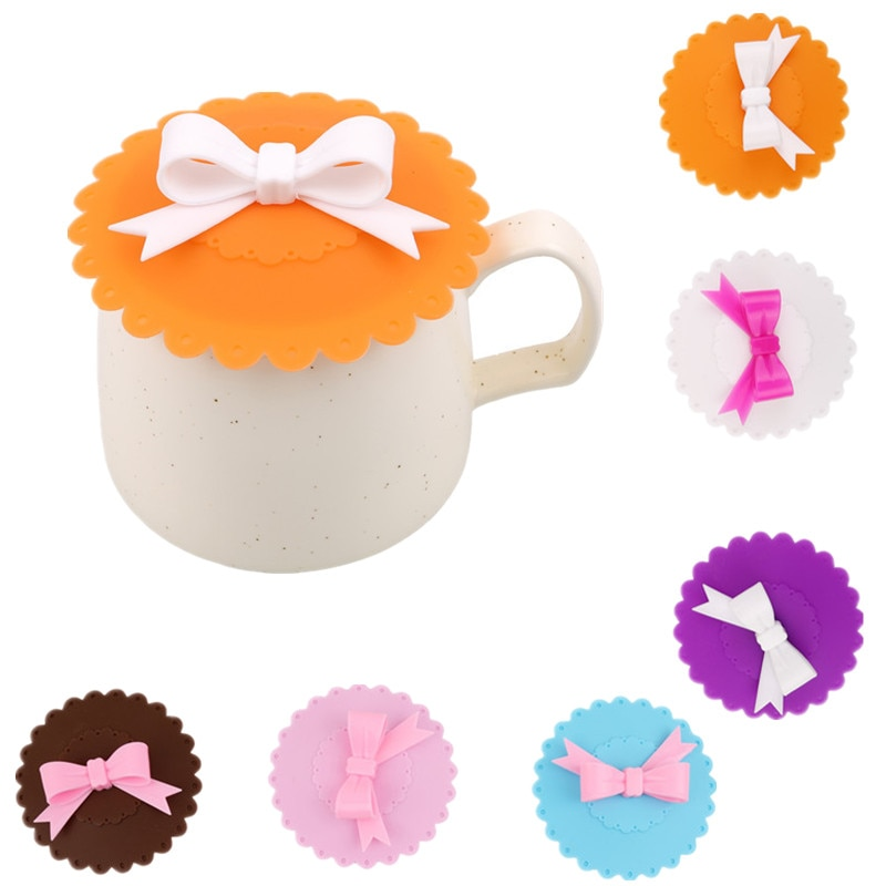 Nuevo Bowknot, tapa antipolvo de silicona para tazas de té, 10cm, regalo decorativo, a prueba de fugas, tapa de sellado de café, accesorios para bebidas de cocina