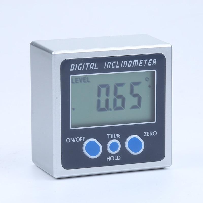 Liga de Alumínio Base de Ímã Caixa de Bisel Medidor de Medidor de Ângulo Mini Digital Transferidor Inclinometer 360 Graus Eletrônico Digitais Pro