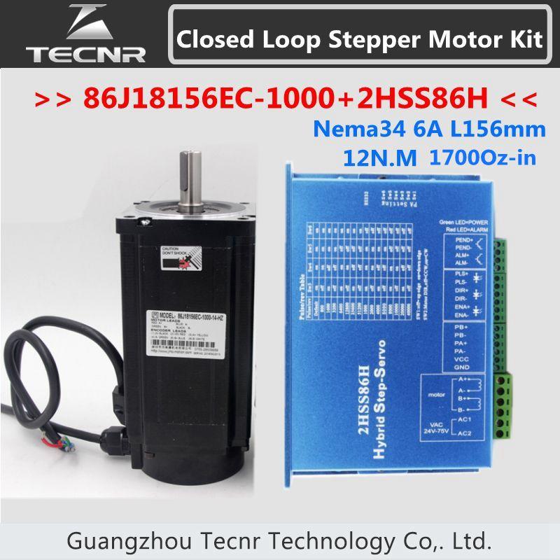 NEMA 34 폐 루프 12NM 6A L 156mm 2 상 스텝 모터 드라이버 86J18156EC-1000 + 2HSS86H DC(40-110V) / AC(60-80V)
