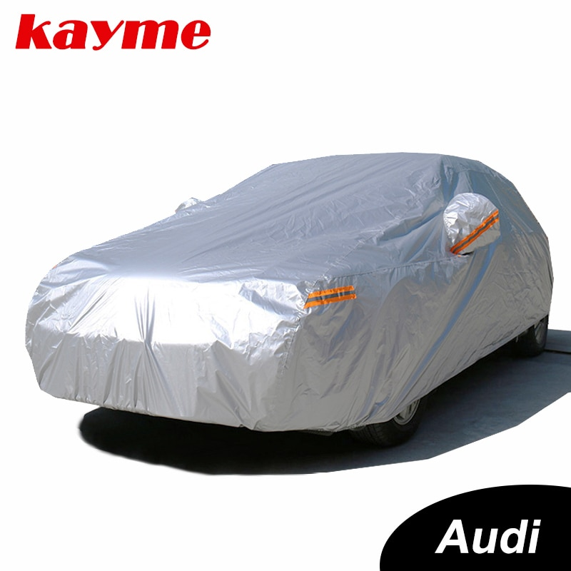 Kayme cubiertas completas e impermeables para coche sol polvo protección contra la lluvia cubierta del coche auto suv de protección para audi a4 b6 b7 b8 a3 a6 c5 c6 q5 q7