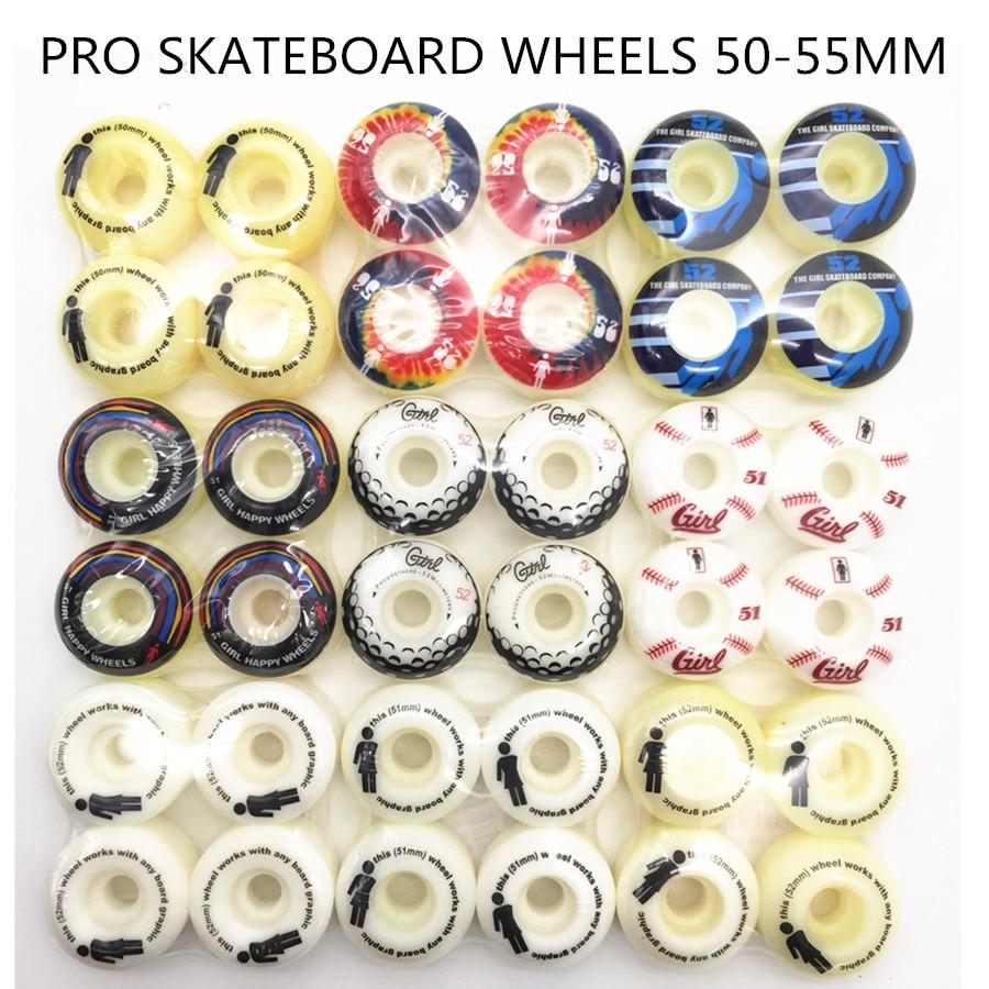 Pro di Skateboard Ruote 51/52/53/54 millimetri Con Multi Grafica Dellunità di elaborazione Sakte Ruote Girl & Elemento 4 pz/set Per Ponte di Skateboard Bordo